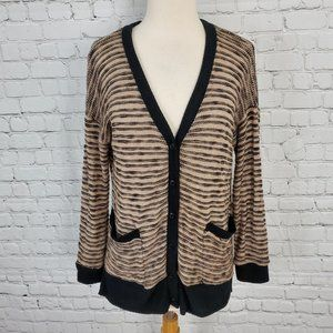 SPLENDID Tan Black Marled Cardigan Sweater M NEW